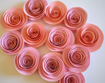 Blush Pink Paper Flowers, Loose Paper Roses, Small Paper Roses