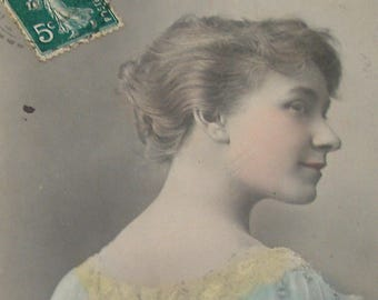 1900s French postcard, Actress in profile. RPPC real photo postcard, paper ephemera.