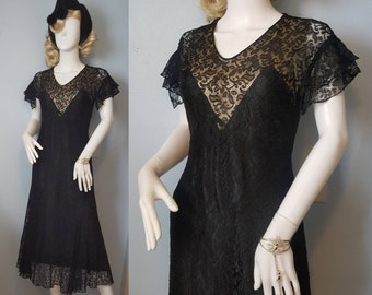 1930s 30s vintage Art Deco vampy illusion neckline dress gown jazz era