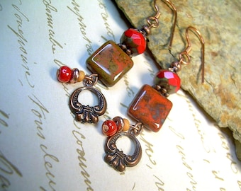 Czech Picasso Bead Dangle Copper Earrings In Bright Colors, Copper Charms