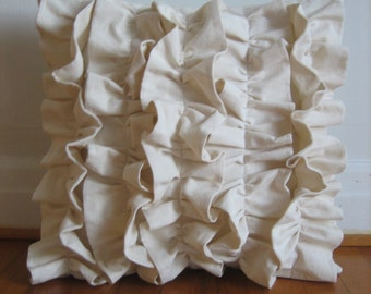 Five Ruffles Pillow Cover in Ivory