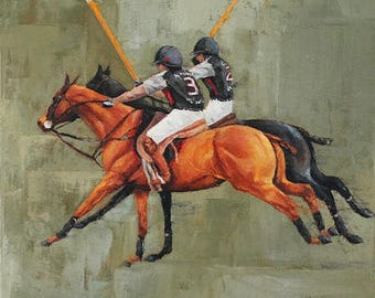 Polo Painting- Horse Painting- Oil on Canvas- Thoroughbred- Equine Art- Equestrian- Sport- Galloping- Polo Players- Animal Art- Horse Racing