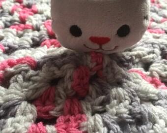 Lovey blanket kitty blanket cat blanket comfort blanky nap blanky granny square security blanket