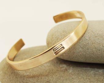 Unisex Cuff, Bronze Cuff With Equal Sign, LGBTQ Jewelry, Bronze Bracelet, Feminist Jewelry, Equality Jewelry