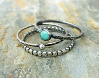 Turquoise Stacking Rings Set in Antiqued Sterling Silver Featuring Kingman, Arizona Turquoise - 3 Rustic Stacking Bands, Dotted Band