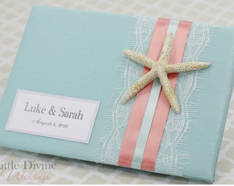 Wedding Guest Book Beach Theme  Starfish Custom Made Aqua Blue Coral Lace Personalized