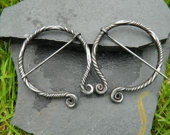 Large Hand Forged Celtic Brooch or Scarf Pin; Archaeology Inspired Ancient Design