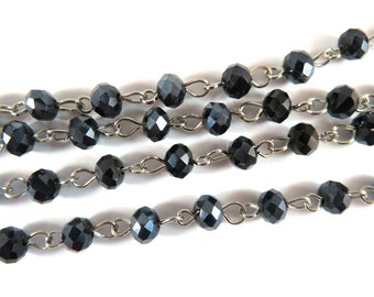 3ft Black Beaded Chain Nickel Plated Transparent Faceted Glass Rondelle Beaded Rosary 7x5mm - 39 inch - STR9088CH-BK39