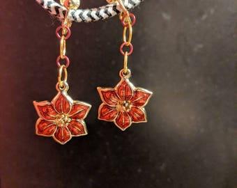 Clip-on Christmas Poinsettia earrings