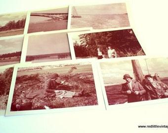 "Vintage Photos, Set of Nine Photos, Vintage Photography, Family Outing"",  Vintage Sepia Photograph, Vintage Photography,Lake, Fishing"