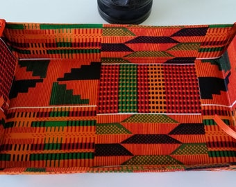 African Kente Print Collapsible, Reversible, Baskets, Home Decor, Home Textile
