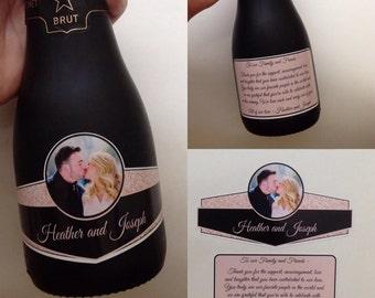 Wedding Mini Champagne Labels Mini Wine Label 187ml Waterproof Champagne Label Custom Photo Mini Champagne Labels Qty 50 Sets (100 labels)