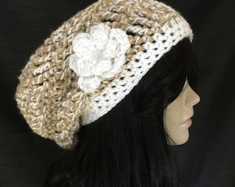 All Season Beanie with Flower Applique - Winter White Beige - Open Stitch - Women Girl Teen - Comfortable Stylish - Slightly Sparkly Yarn