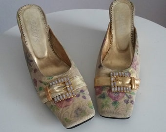 Vintage 1960s leather sandals | 60s leather wedge sandals | 1960s brocade mules