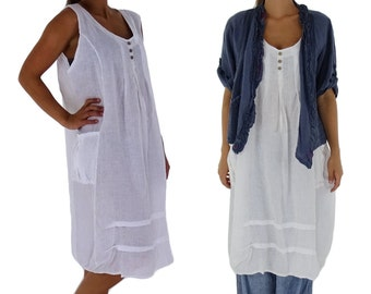 HF500W44 ladies dress long tunic layered look linen vintage Gr. 44 white