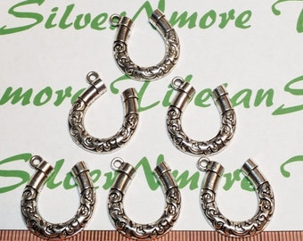 6 pcs per pack 24x22mm Textured Horseshoe Charms Antique Silver Finish Lead Free Pewter