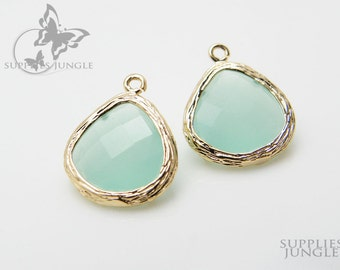 F100-G-MT// Gold Framed Frosted Mint Faceted Glass Stone Pendant, 2 pcs