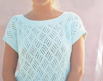 Lacy look summer top sun top jumper vintage knitting pattern pdf download pattern only pdf 1980s