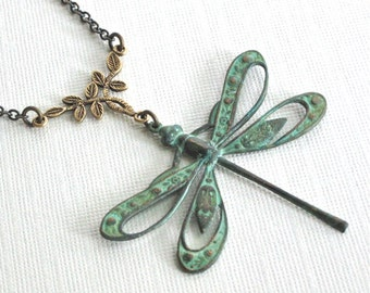 Cutout Dragonfly Necklace - Patina, Leaf Jewelry, Dragonfly Jewelry, Nature Jewelry