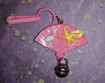 Vintage Bell-Charme Rosa fan mit Vögeln Chinesisch - Charm-Armband - Kette - Retro Schlüsselanhänger-Clip - Reißverschluss ziehen - Kitsch Kawaii Mini 80er Jahre