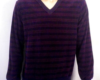 vtg 70s JC Penney The Fox Velour navy/burgandy Textured Striped Sweater Velvet M