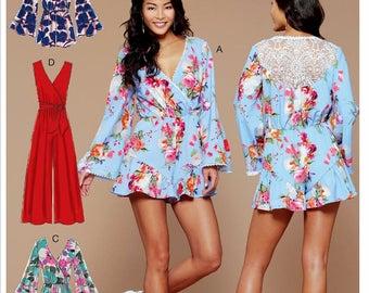 McCall's Wide Leg Jumpsuit Pattern, Ladies Romper Pattern, Palazzo Pants Jumpsuit Pattern, McCall's Sewing Pattern 7577