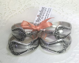"Silver Spoon Napkin Rings from Vintage Spoons, Napkin Holder, Table Setting, ""Daybreak"" 1952 - Set of 4"