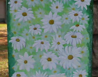 Daisies, flower daisy painting on canvas