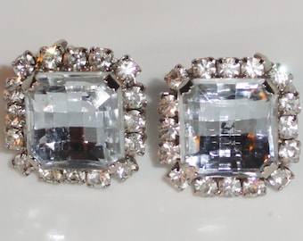 Signed WESTERN GERMANY Clear Ice Bling Prong Set Rhinestone Clip Earrings
