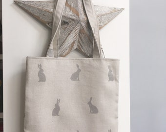Hare Print Bag-Natural Hare Bag-Linen Look Hare Bag-Hare Tote Bag