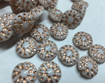 10 White Czech Pressed Glass Dahlia Flower Beads with Copper Finish 14mm