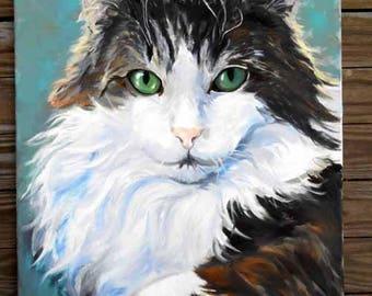 Large Custom Cat Portrait Oil Painting Portrait, Artist Robin Zebley, Unique Pet Lovers Gift Gift Certificate