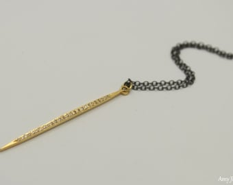 Pave Diamond Spike Necklace, Oxidized Sterling Silver or Gold Filled Chain, Genuine Diamond Pendant