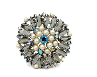 Large Rhinestone Brooch, Grey Rhinestone, Faux Pearl, Vintage Jewelry, Crystal Brooch, 1950s Jewelry, Open Back Rhinestone, Estate Jewelry