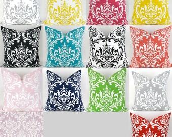 Damask Throw Pillow -MANY SIZES- Damask Cushion Cover, Decorative Throw, Rainbow Damask, Damask Euro Sham, Ozborne Premier Prints, FREESHIP