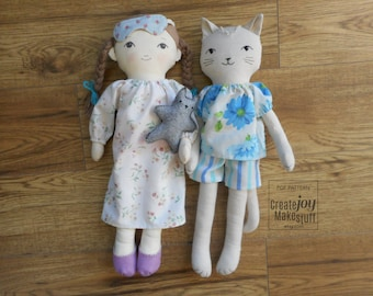 """For 18"""" Doll & Cat - Sleep Set Sewing Pattern - Pajamas - Nightgown - Slippers - Mask - PJs - Dress up - Rag doll"""