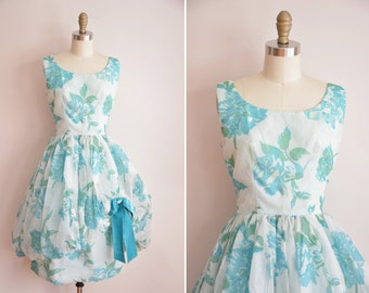 50s Botanic Explosion dress / vintage 1950s chiffon party dress/ vintage large floral party dress