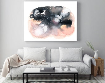 "Abstract Painting ""Clearing"" by Jules Tillman Fine Art Lustre Print minimal abstract watercolor painting White pink grey black large art"