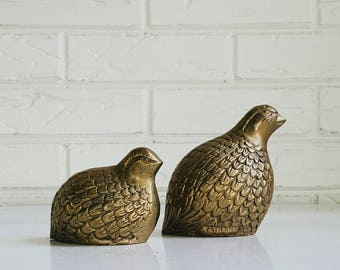 Vintage Brass Pheasant Quail Couple - Set of 2 Decorative Brass Quail Figurines - Modern Farmhouse Fall Decor