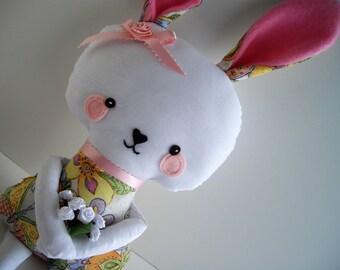 Bunny Spring Stuffed Animal Plush Doll Bunny Rabbit For Children Under Three Hypoallergenic Ready To Ship Handmade by handcraftusa