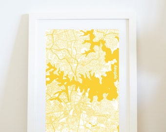 SYDNEY City map, travel print, wall art {I left my heart} in Sydney, Australia