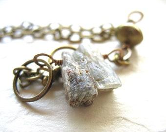 Kyanite, Green Kyanite Bracelet, Kryptonite Kyanite Fringe Stone Bracelet , Handmade Stone Bracelet, Green Bracelet