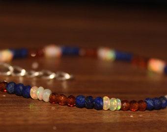 Ethiopian Opal Bracelet, Garnet Bracelet, Lapis Bracelet, Gemstone Bracelet, Wedding Bracelet, Hassonite Garnet, Thin Braclet 0024