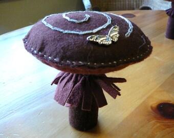 Large Mushroom Peg Doll, Waldorf Inspired, Large Wool Felt Toadstool,