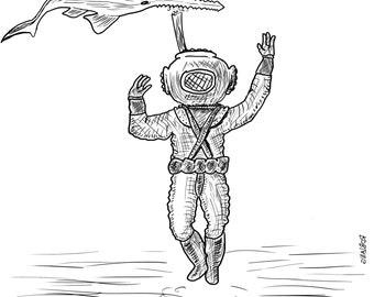 "Underdone Comics: Deep Sea Diver and Sawfish 9x9"" Print"