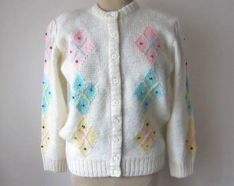 50s Mohair Argyle Beaded Cardigan Button-Up Sweater by Oster // Pink, Blue, Yellow, and Ivory Off White Cream! Pin-Up Sweater Girl! Size 38
