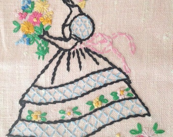 Vintage Tea Towel / Hand Towel / Kitchen Towel / Hand Stitched Dish Towel