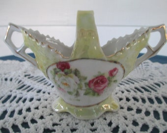 Vintage German Pale Yellow Rose & Gold Gilt Porcelain Basket Marked Made in Germany Collectible Figurines Home Decor