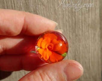 Everlasting Orange and Pink Rose Marble, unusual gift, collectible glass art, sphere, lampwork, flower, implosion
