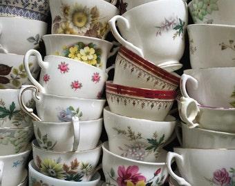 Job lot of 50 Pretty Vintage Tea Cups NO SAUCERS - ideal for Tea parties